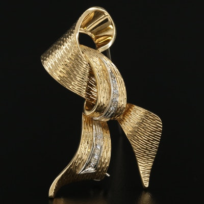 Vintage 18K Yellow Gold Diamond Ribbon Brooch