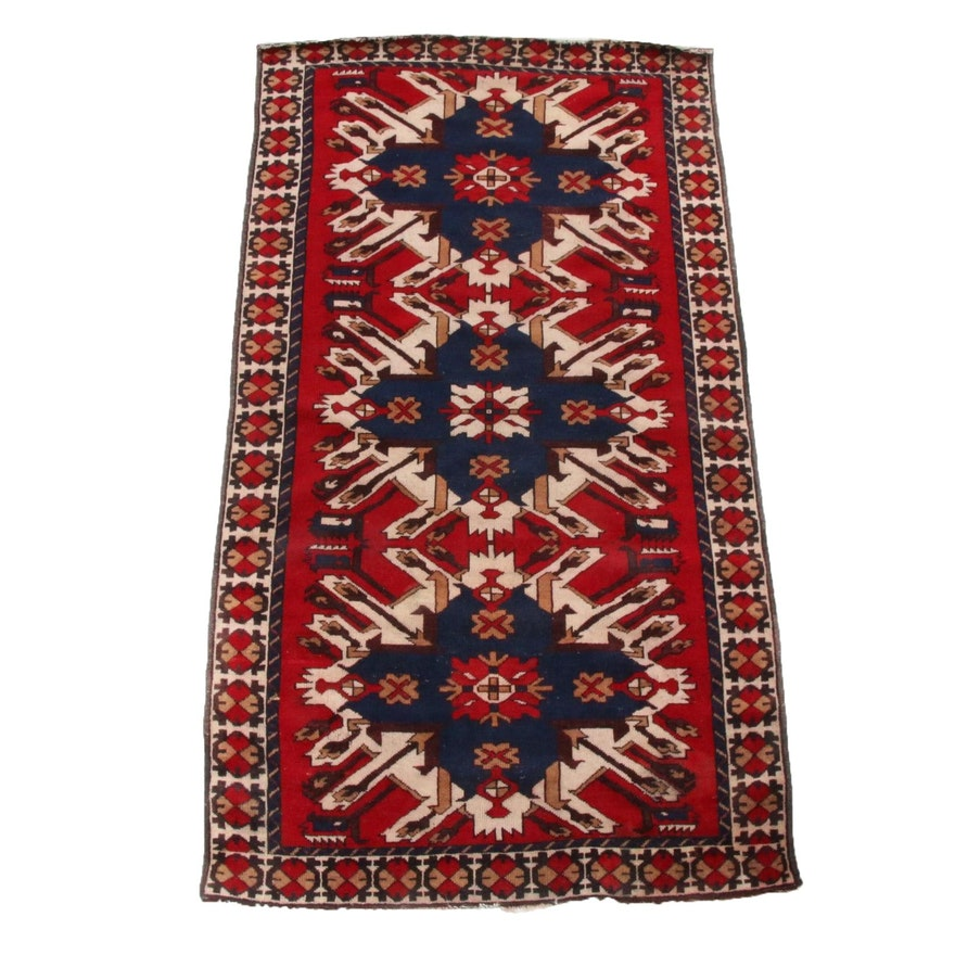 3'6 x 6'6 Hand-Knotted Turkish Caucasian Kazak Rug