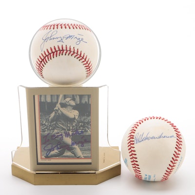 Johnny Mize and Red Schoendienst Signed Baseballs with a Mize Card     COA