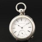 Elgin National Watch Co. Nickel Pocket Watch with Key Fob, 1885