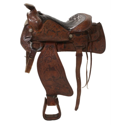 Western Style Leather Saddle with Detailed Tooling