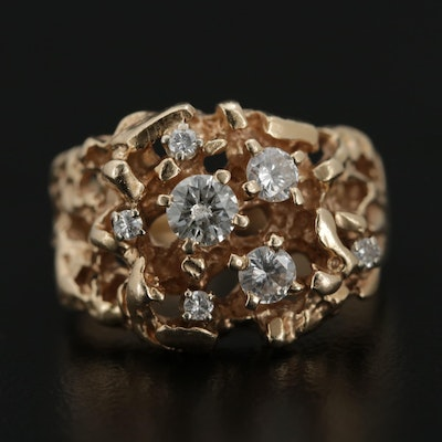 Brutalist 14K Yellow Gold Diamond Ring
