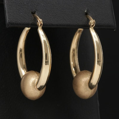 14K Hoop Earrings with Matte Textured Accent
