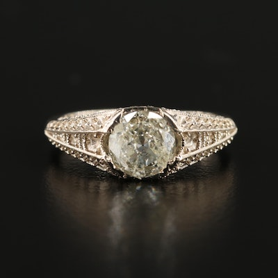 14K Gold Diamond Center Ring with Blank Side Mounting