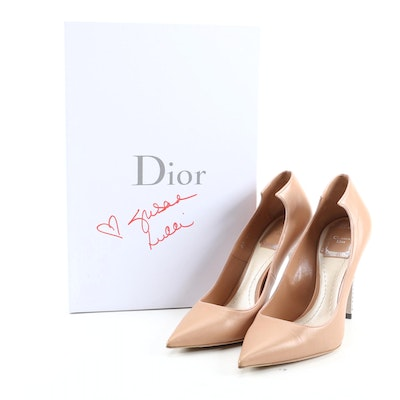 Christian Dior Leather and Crystal Flash Pumps with Box Signed by Susan Lucci