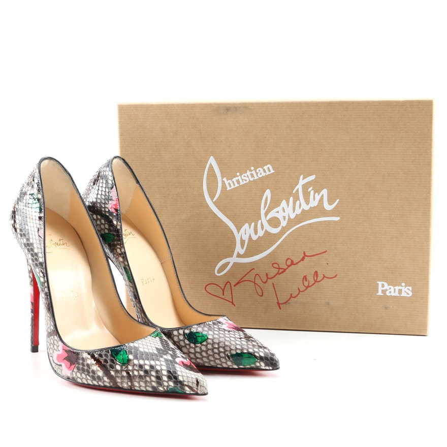 Christian Louboutin So Kate Python Flower Pumps with Box Signed by Susan Lucci