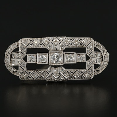 Art Deco Platinum and 14K White Gold 1.28 CTW Diamond Brooch
