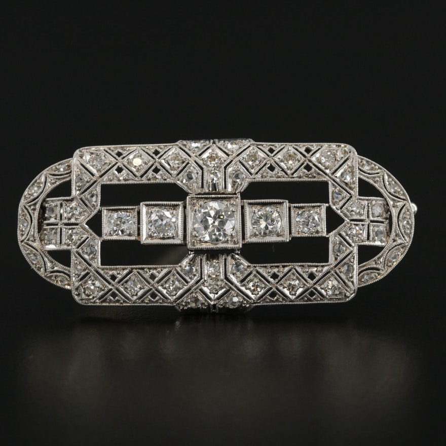 Art Deco Platinum and 14K White Gold 1.28 CTW Diamond Brooch