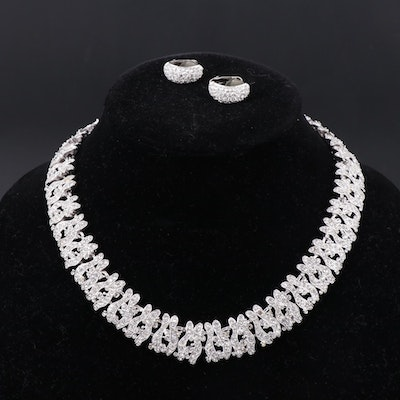 Rhinestone Necklace and Christian Dior Earrings