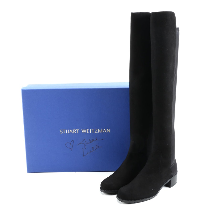 Stuart Weitzman Reserve Black Suede Knee Boots with Box Signed by Susan Lucci