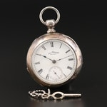 Antique Waltham American Watch Co. Coin Silver  Pocket Watch, 1887