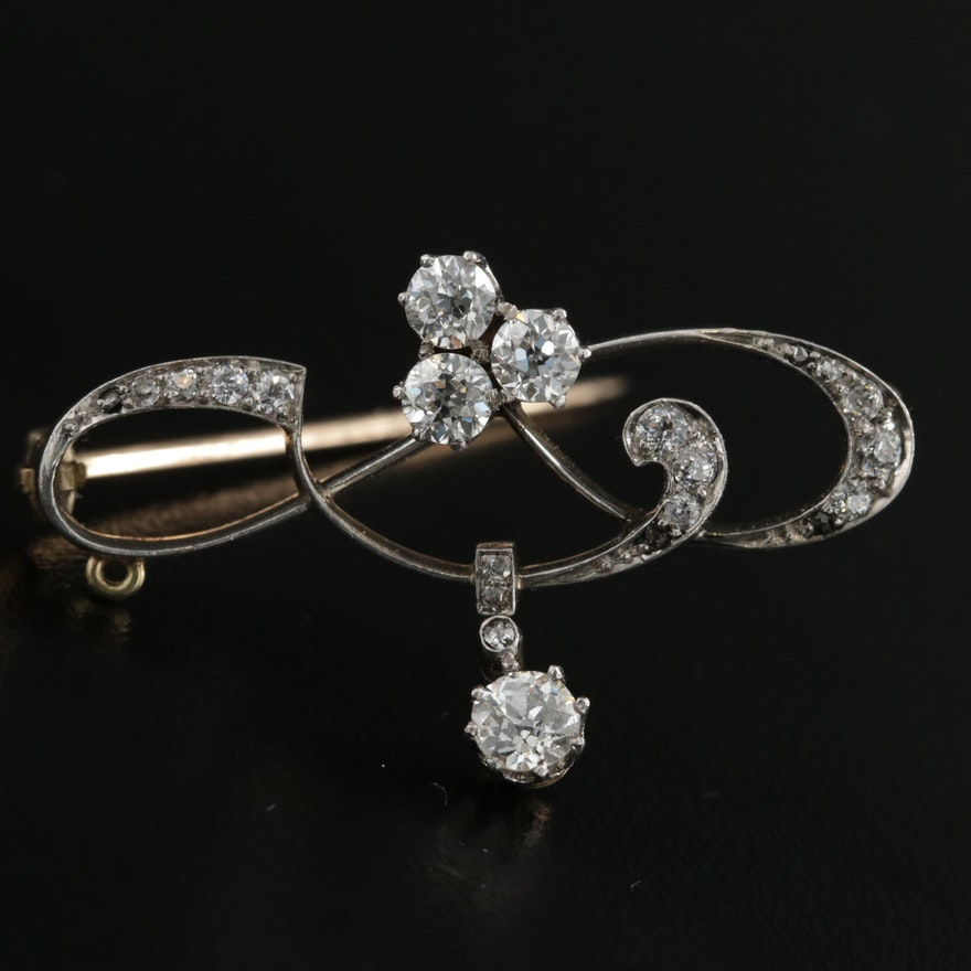Belle Époque Platinum and 14K Gold 1.39 CTW Diamond Brooch