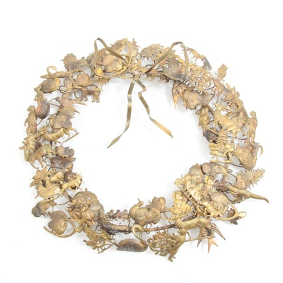 Petite Choses Style Brass Wreath Depicting Holidays