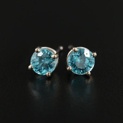 14K White Gold Zircon Stud Earrings