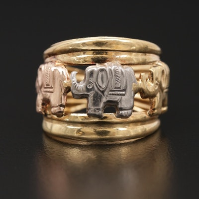 14K Yellow Gold Elephant Ring with White and Rose Gold Accents