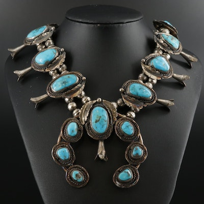 Southwestern Style Sterling Turquoise Squash Blossom Necklace