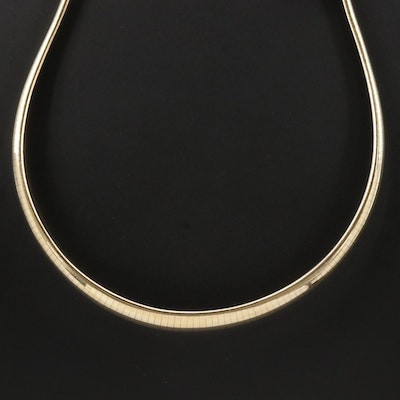 14K Yellow Gold Graduated Omega Chain Link Necklace