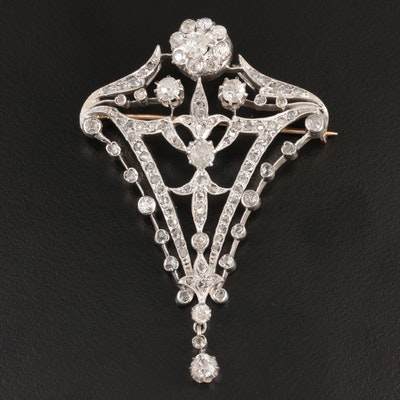 Belle Époque Sterling Silver and 14K Gold 3.05 CTW Diamond Converter Brooch
