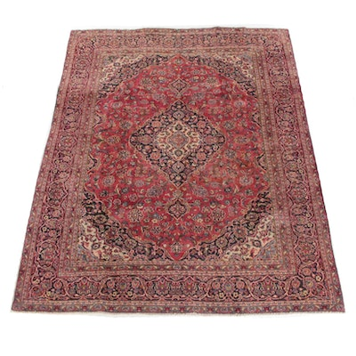 7'7 x 10'5 Hand-Knotted Persian Mashhad Wool Rug