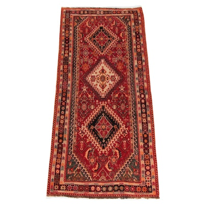 3'4 x 7'1 Hand-Knotted Persian Shiraz Wool Rug