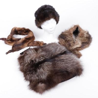 Crystal Fox Fur Muff with Full Pelt Marten Stole, Mink Hat, and Raccoon Collar
