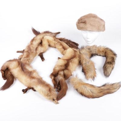 Full Pelt Marten Fur Stole with Mink Fur Hat and Fox Fur Scarf