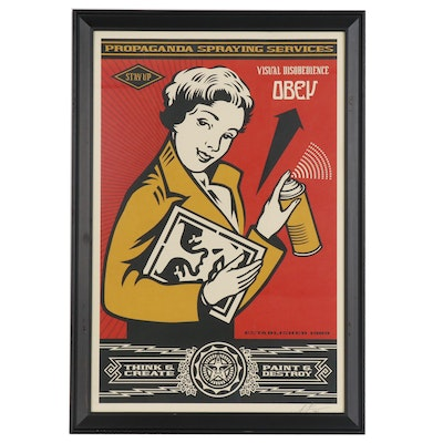"""Shepard Fairey Offset Print """"Obey Stay Up Girl"""""""