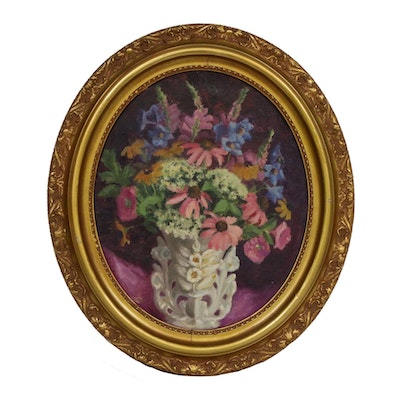 Edna Stubbs Cathell Floral Still Life Oil Painting
