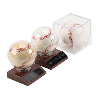 Gooden, Strawberry and Knight Signed Baseballs   COA