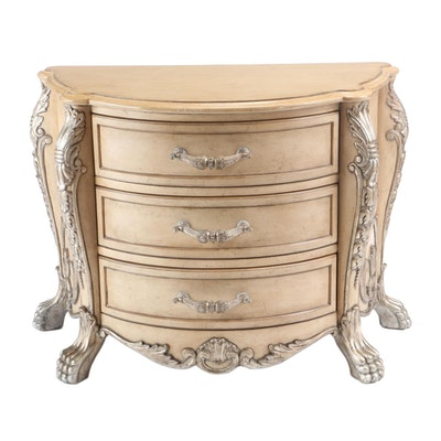 Baroque Style Cream-Painted and Parcel Silver-Gilt Demilune Commode