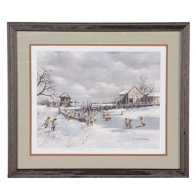 "Robert Fabe Offset Lithograph ""Winter Holiday"""