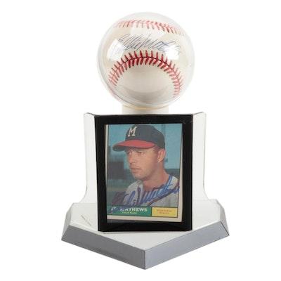 Eddie Mathews Signed Baseball and a 1961 Topps Signed Card   COA