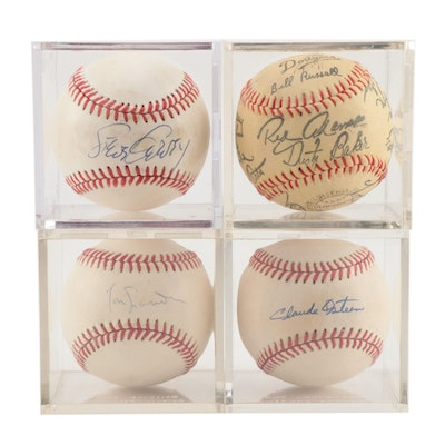 Lasorda, Garvey, Osteen Signed Baseballs with Vintage Stamped Team Ball    COA