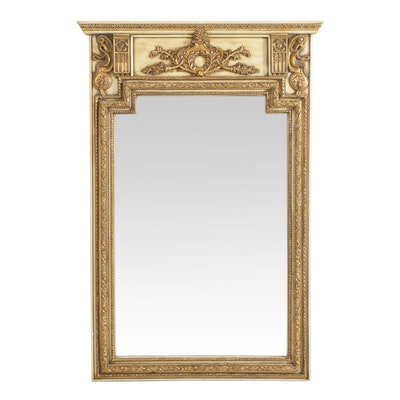 Neoclassical Style Cream-Painted and Parcel-Gilt Pier Mirror, 20th Century