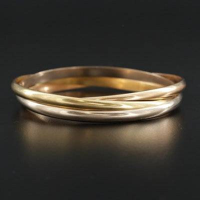 Cartier 18K White, Rose and Yellow Gold Rolling Bangle Bracelet