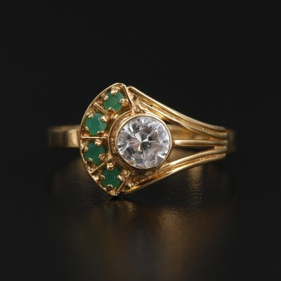 Vintage 18K Yellow Gold Cubic Zirconia and Glass Ring