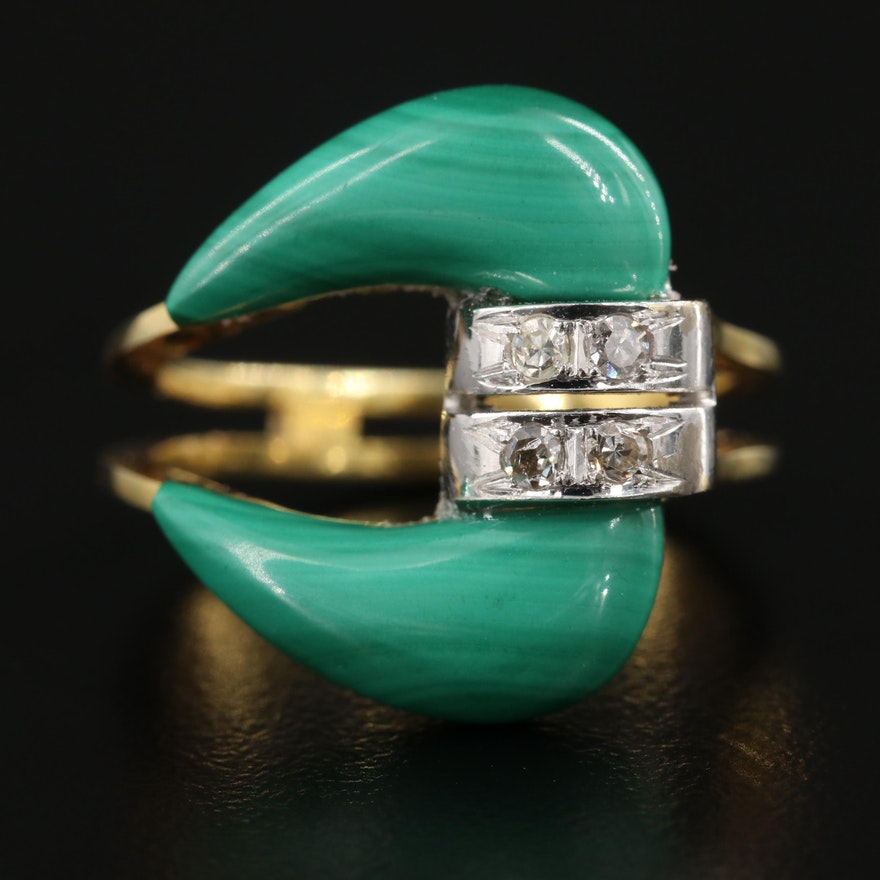 Vintage 14K Yellow Gold Malachite and Diamond Ring