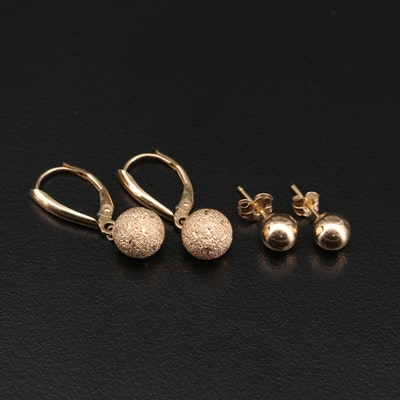 14K Yellow Gold Ball Stud Earrings and Stipple Textured Dangle Earrings