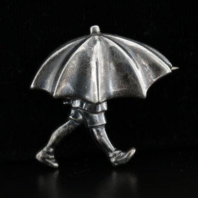 """Van Dell for Walt Disney """"Christopher Robin Under Umbrella"""" Sterling Brooch"""