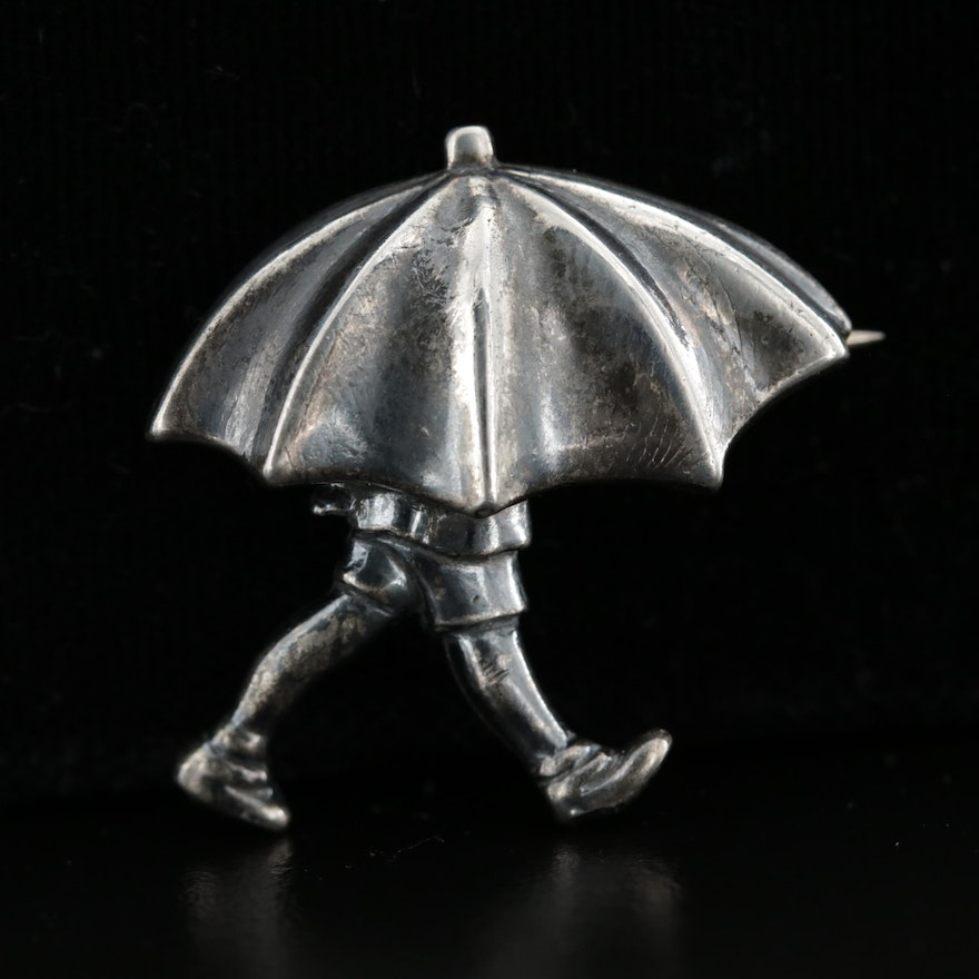 "Van Dell for Walt Disney ""Christopher Robin Under Umbrella"" Sterling Brooch"