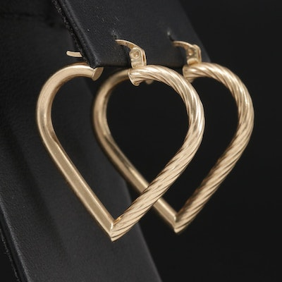 14K Yellow Gold Heart Hoop Earrings with Fluted Design