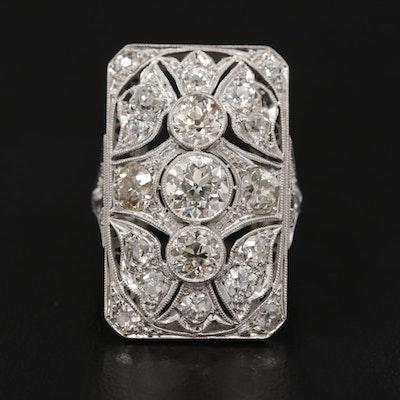 Art Deco Platinum 3.20 CTW Diamond Ring with Milgrain Detail