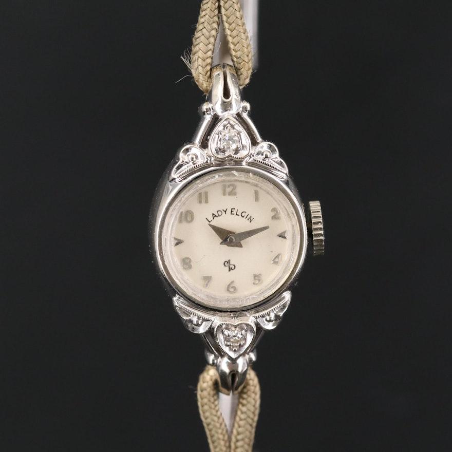 Lady Elgin 14K Gold and Diamond Wristwatch