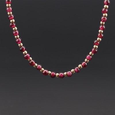 14K Yellow Gold Rhodolite Garnet Necklace