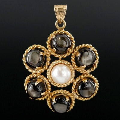 14K Yellow Gold Pearl and Black Star Sapphire Pendant