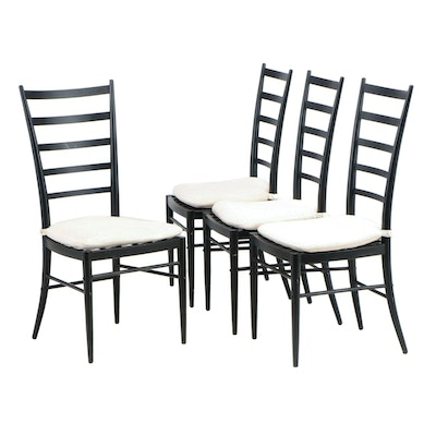 "Four Crate & Barrel Ebonized Metal ""Jacob"" Side Chairs with Cushions"