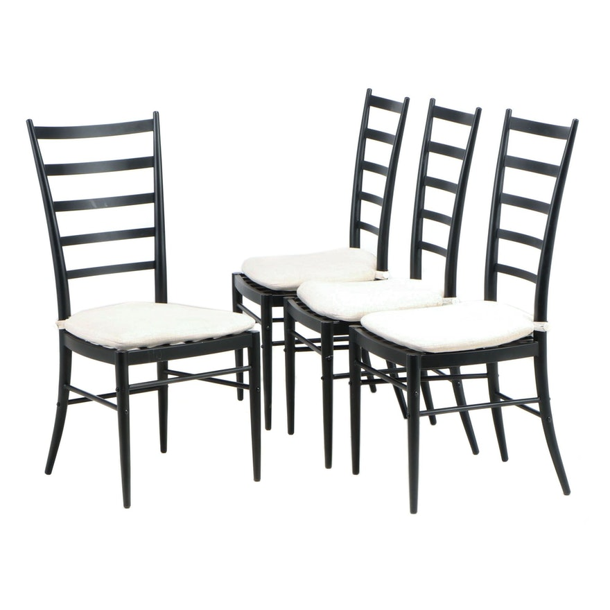 """Four Crate & Barrel Ebonized Metal """"Jacob"""" Side Chairs with Cushions"""