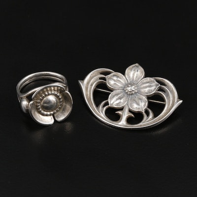 Georg Jensen Floral Ring and James Avery Floral Brooch Featuring Sterling Silver