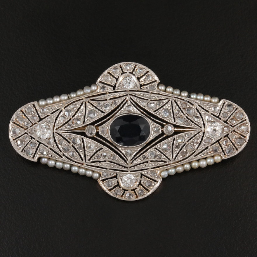 Art Deco Platinum and 18K 1.73 CT Sapphire, 1.24 CTW Diamond and Pearl Brooch