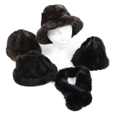 Mink and Sheared Beaver Fur Hats with Dyed Rabbit Fur Scarf